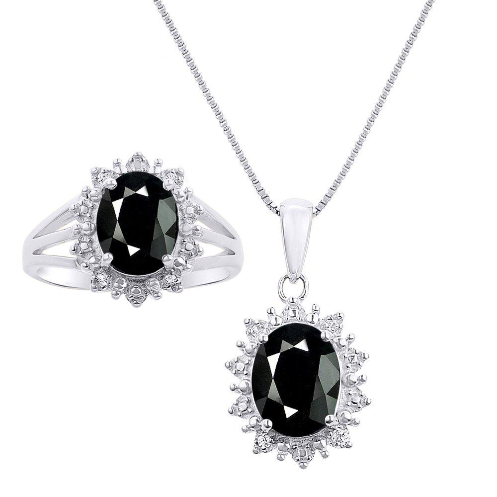 Princess Diana Inspiredハローダイヤモンド&オニキスMatchingペンダントネックレスとリングセット14 Kホワイトゴールドwith 18