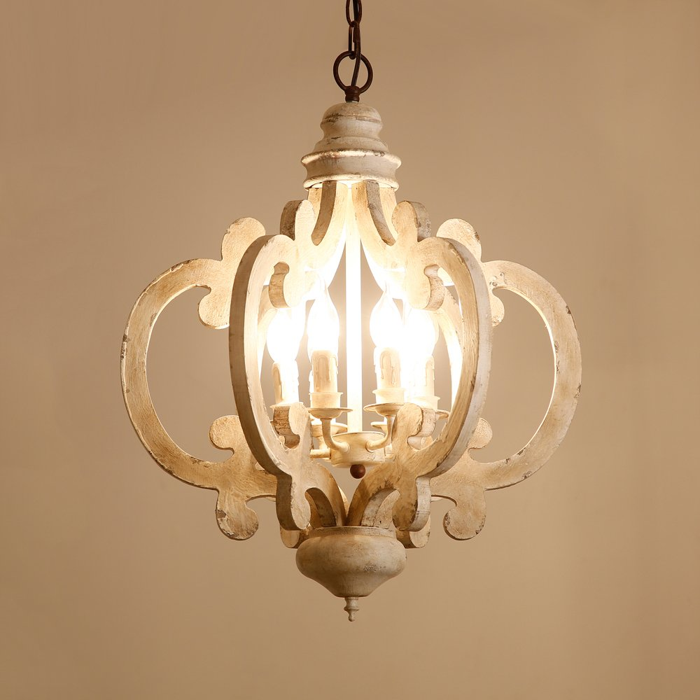 Lovedima rustic vintage iron wooden chandelier 6 light candle hanging ceiling light in distressed white