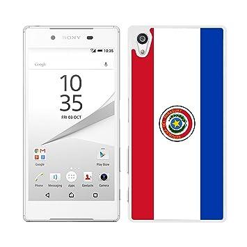 FUNDA CARCASA PARA Sony Xperia Z5 DISEÑO BANDERA PARAGUAY BORDE BLANCO