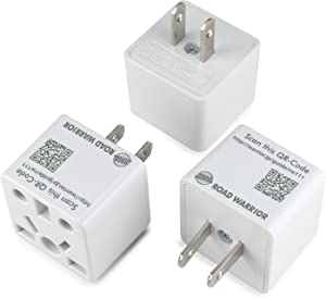 [3 Pack] ROAD WARRIOR US Plug Adapter European/UK/China/AUS/India/Brazil to USA/Japan Does not Convert Voltage Designed in Japan RW111WH-US