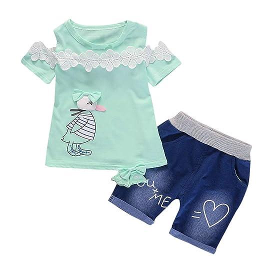 ddc417baf Amazon.com  Toddler Girls Clothes Set Baby Girls Short Sleeve Print ...