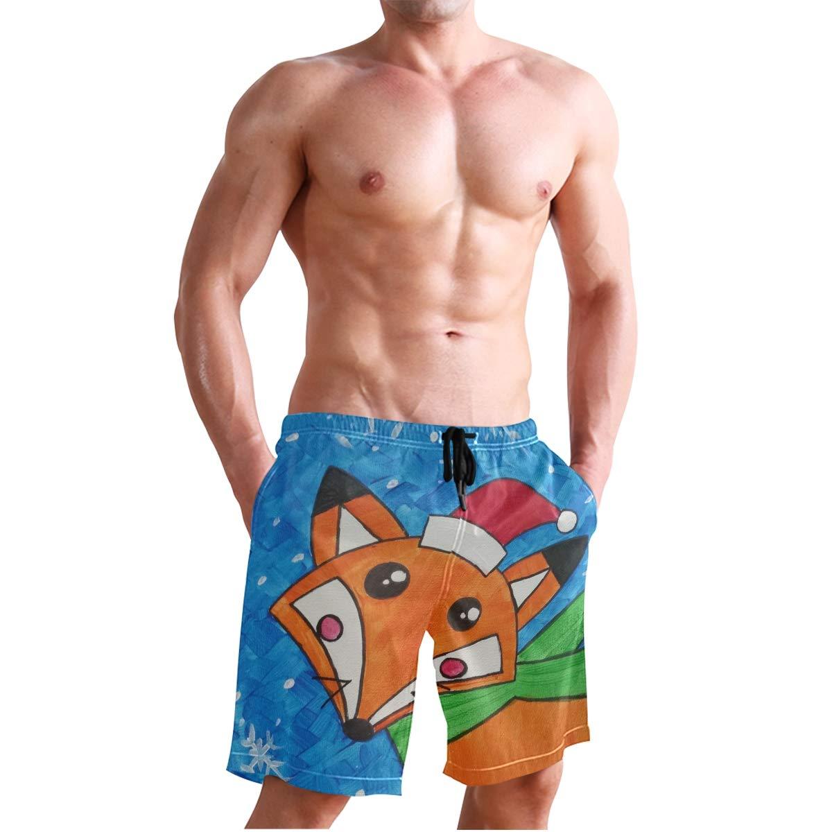 DEYYA Mens Fox Art Summer Beach Shorts Pants Swim Trunks Board Short for Men