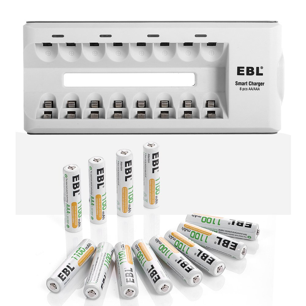 EBL 12 Pack 1100mAh AAA Ni-MH Rechargeable Batteries with 8 Bay Quick AA/AAA Charger [Home Basic Series]