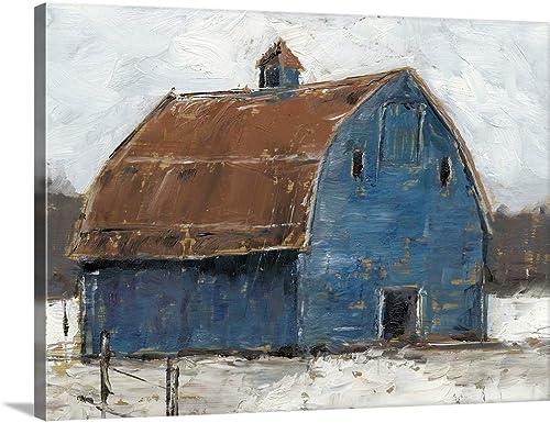 GREATBIGCANVAS Blue Barn I Canvas Wall Art Print