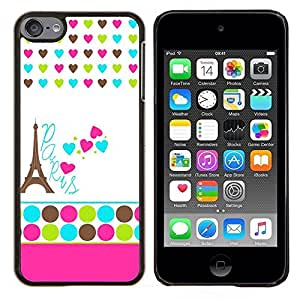 LECELL--Funda protectora / Cubierta / Piel For Apple iPod Touch 6 6th Touch6 -- Lunares blancos Corazón Francia Eifel --
