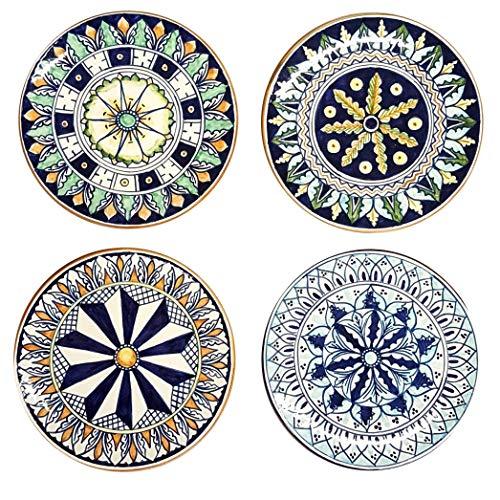 CERAMICHE D'ARTE PARRINI - Italian Ceramic Art Pottery Set 4 Plates Made in ITALY Tuscan Design Deruta