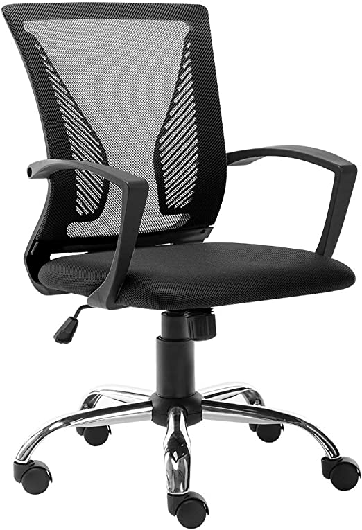 Amazon Com Bonzy Home Mid Back Office Chair Ergonomic Mesh Desk Chair Computer Chair Lumbar Support Modern Adjustable Rolling Swivel Chair Black Kitchen Dining