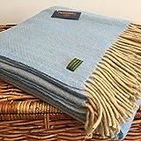 Tweedmill Textiles 100% Pure Wool Blanket Herringbone Design in Sea Blue and Beige