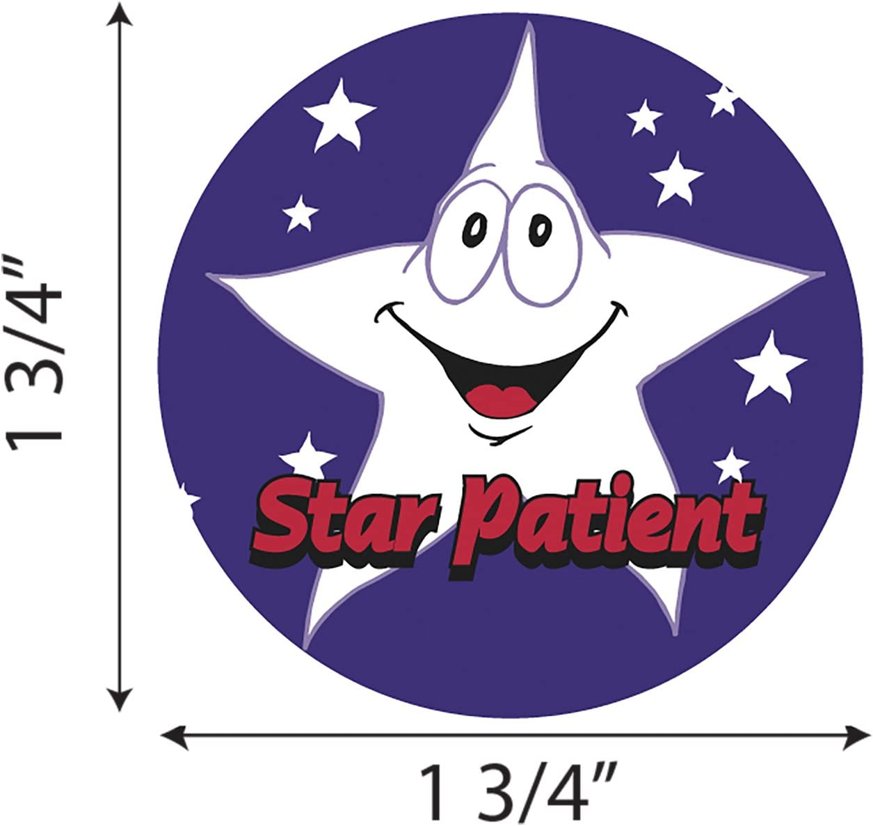 Healthcare 100 Stickers//Roll Tabbies Childrens Sticker 1-3//4 Circle Star Patient Purple With A Star 20004