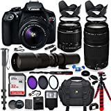 Canon EOS Rebel T6 DSLR Camera with 18-55mm IS II Lens Bundle + Canon EF 75-300mm f/4-5.6 III Lens and 500mm Preset Lens + 32GB Memory...