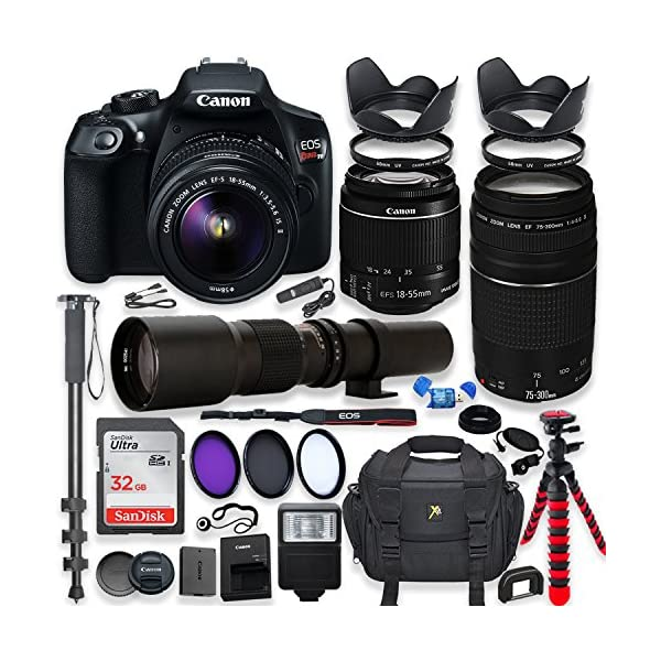 61Bv%2BC9ilaL. SS600  - Canon EOS Rebel T6 DSLR Camera with 18-55mm is II Lens Bundle + Canon EF 75-300mm f/4-5.6 III Lens and 500mm Preset Lens…
