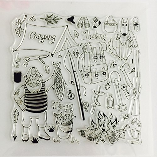 Bduco Clear Stamps for Cards Making - Catching Fish, Transparent Silicone Stamp DIY Scrapbooking Craft Stamps