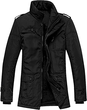 CELINO Mens Fitted Padded Jacket Faux Fur Hood Lightweight Zipped Stylish Coat Black X-Large