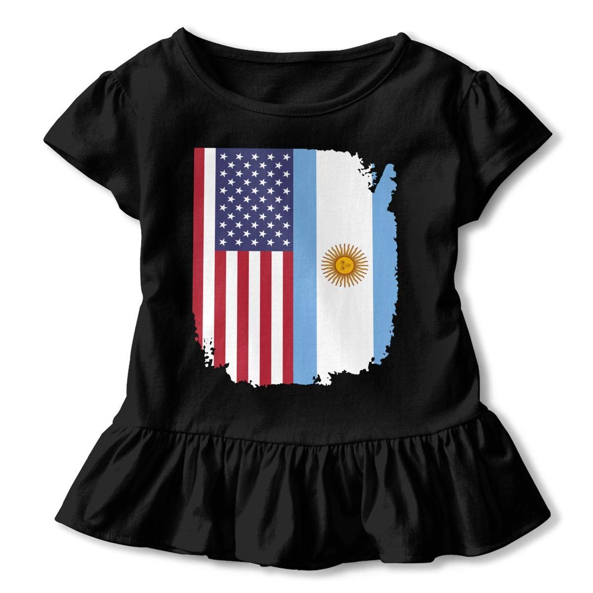 PMsunglasses Short Sleeve American Argentina Flag Shirts for Kids Fashion Tunic Tops with Falbala 2-6T