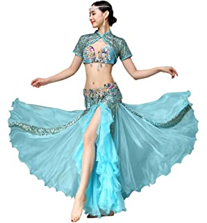 f9d146a1a3c9 GUILTY BEAUTY Luxury Belly Dance Costume Performance Set,Vintage Courtly  Style,Capelet Bra Skirt