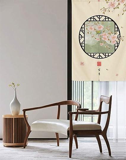 SK Studio Japon/és Noren Puerta Cortina Panel de Tapicer/ía Habitaci/ón Divisor Home Decoratio Planta Verde Estilo 9 85x150cm