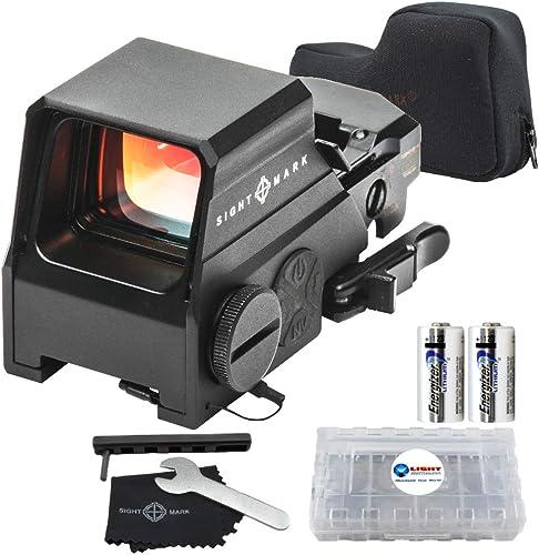 Sightmark Ultra Shot M-Spec Reflex Sight, paquete de 65 MOA Circle-Dot con 2 baterías extra Energizer CR123 y caja de batería Lightjunction