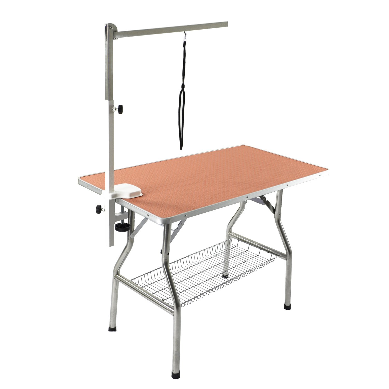orange Flying Pig 38  Medium Size Heavy Duty Stainless Steel Frame Foldable Dog Pet Grooming Table (38  x 22 ) (orange)