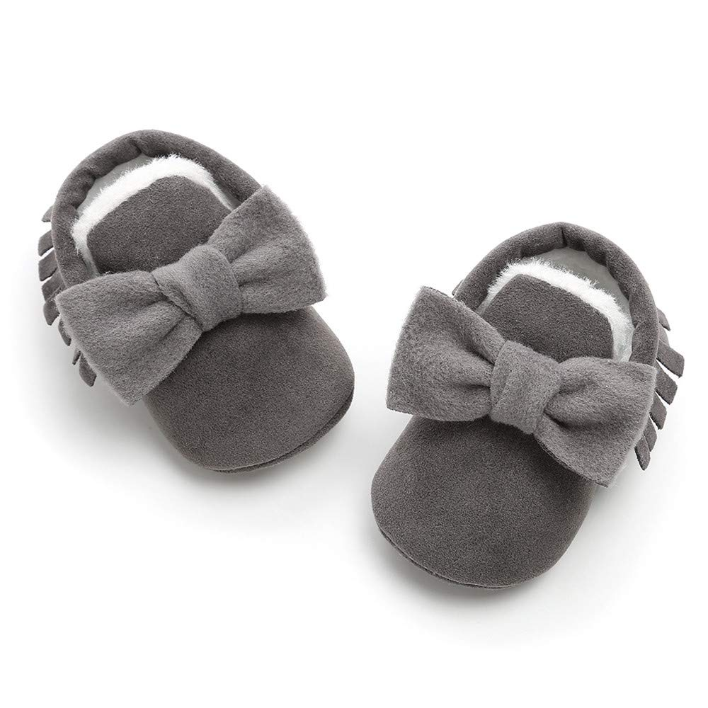 Voberry@ Baby Boys Girls Tassel Bowkot Soft Sole Winter Warm Loafers Moccasin Sneakers Crib Shoes