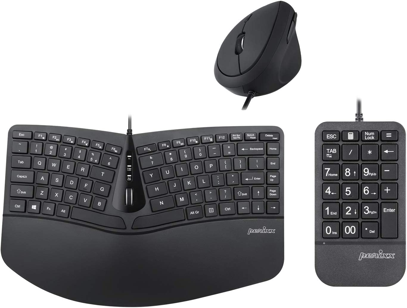 PERIDUO-406 3-in-1 Wired Ergonomic Mini Combo with Keyboard, Mouse, and Keypad