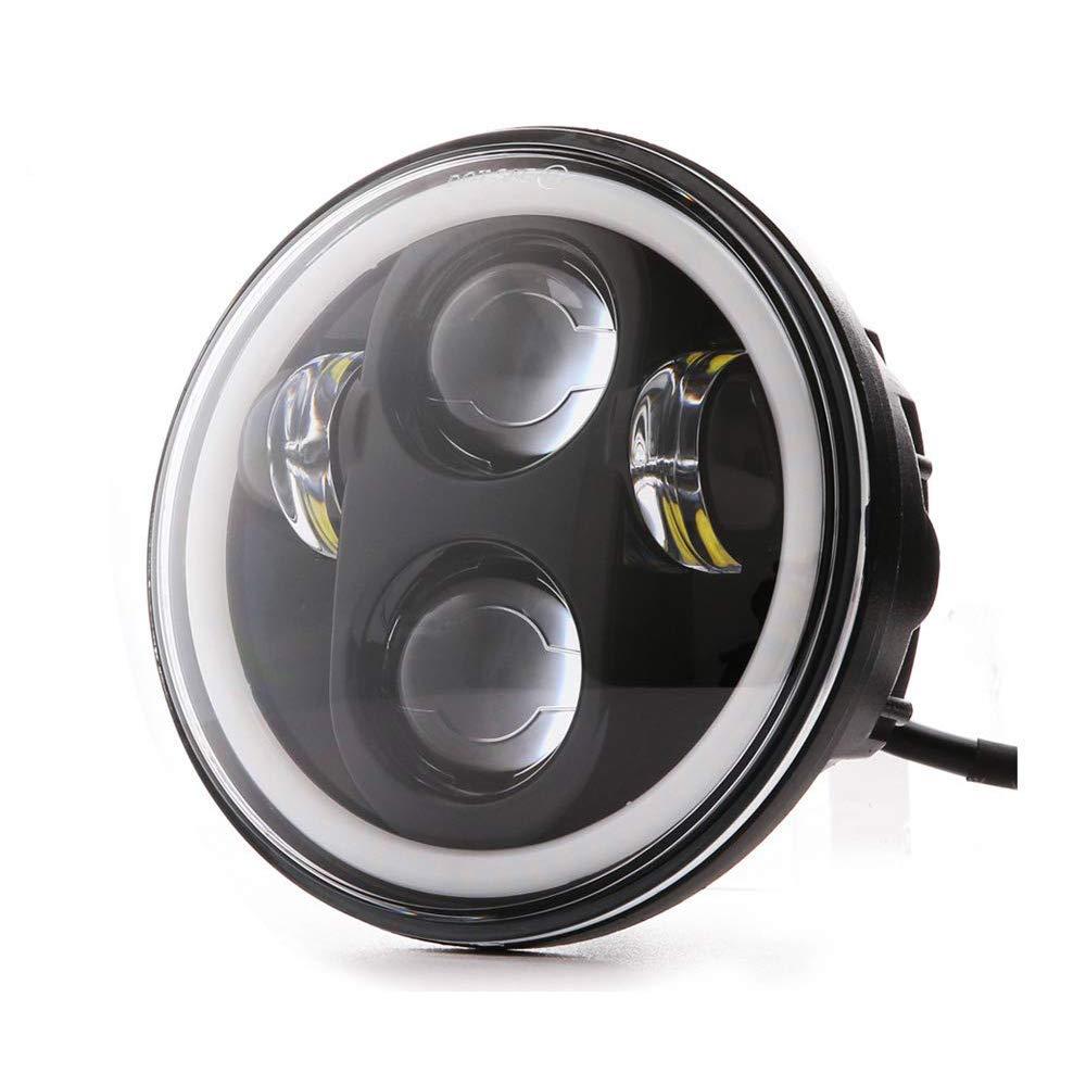 argent LED 40/W Phare de 5.75/pouces lumi/ère de moto de 5.75/pouces dAYMAKER projecteurs Angel Eyes les yeux du 225; ngel avec DRL Feux de route Feux de croisement pour Harley Davidson
