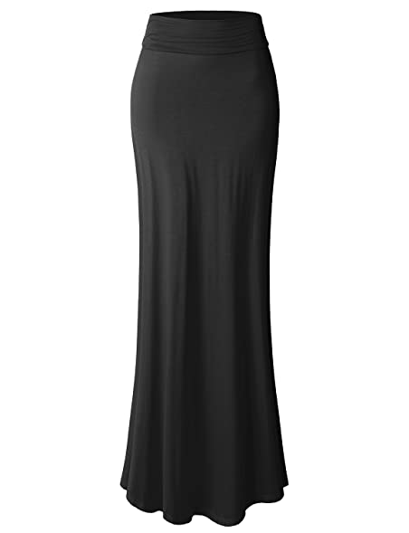 Great LE3NO Womens Plus Size Floor Length Maxi Skirt With Stretch