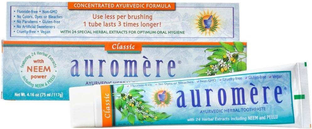 Auromere Ayurvedic Herbal Toothpaste, Classic Licorice Flavour - Vegan, Natural, Non GMO, Fluoride Free, Gluten Free, with Neem & Peelu (4.16 oz), 1 Pack