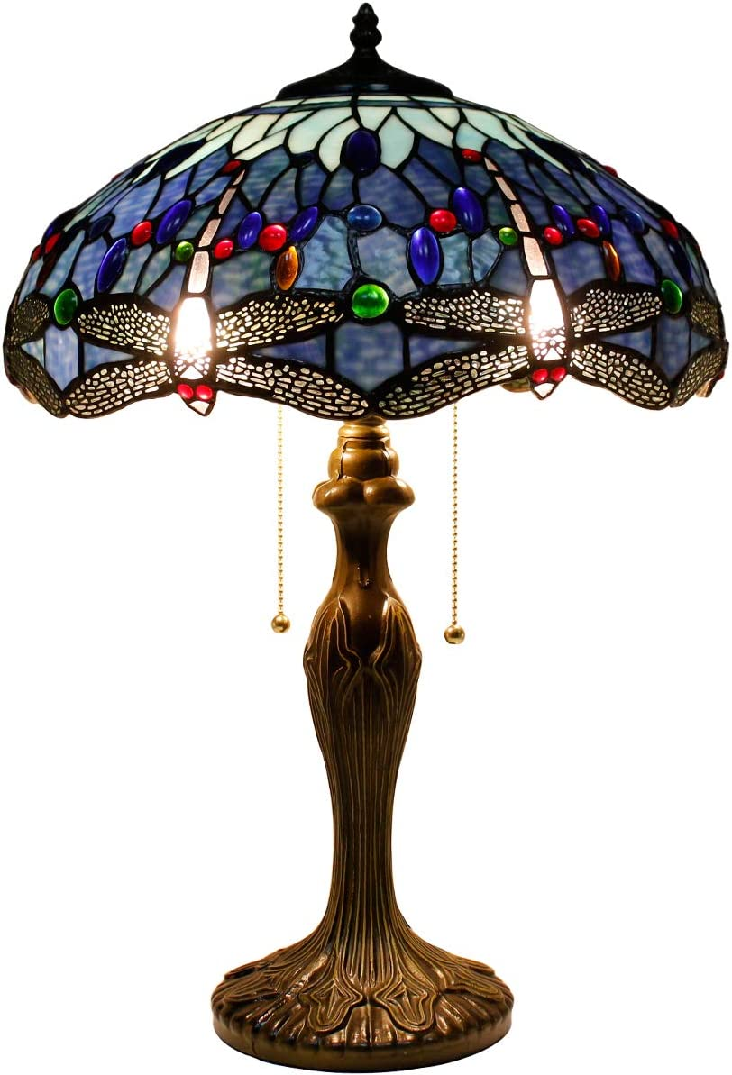 Tiffany Style Table Desk Beside Lamp 24 Inch Tall Blue Stained Glass Shade Crystal Bead 2 Light Antique Zinc Base for Living Room Bedroom Dresser Bookcase S004 WERFACTORY