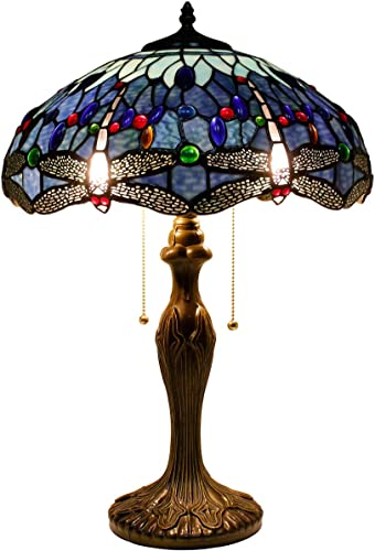 Tiffany Style Table Desk Bedside Lamp W16H24 Inch Blue Stained Glass Crystal Bead Shade S004 WERFACTORY LAMPS Parent Lover Friend Kid Living Room Bedroom Study Bar Reading Light Antique Art Craft Gift
