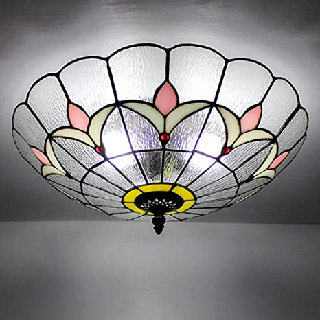 online store e295e 6f7d8 Tiffany Style Ceiling Light Flush Mount Stained Glass Lamp ...
