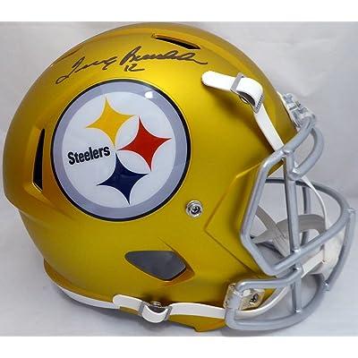 1d2d8b0a413 Terry Bradshaw Autographed Pittsburgh Steelers Gold Blaze Full Size Speed  Replica Helmet Beckett BAS