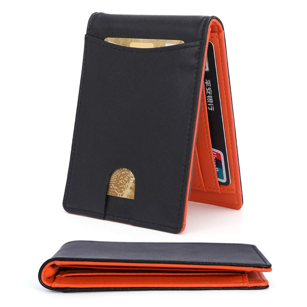 RFID Blocking Wallet with Money Clip, Slim Genuine Leather Men Wallet, Credit Card Slots, ID Window. Minimalist Mini Wallet for Gents Men with Gift Box - Black & Orang