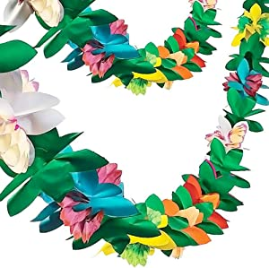FUTUREPLUSX Paper Garland Decorations, 2PCS Hibiscus Garland Tissue Flower Banner Tropical Paper Flowers Luau Party Decorations