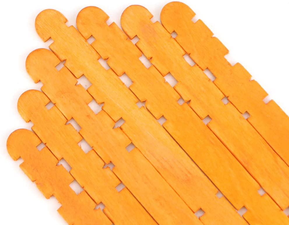 UPlama 400 PCS Dentate and Wooden Craft Sticks Colored Craft Sticks Wooden Popsicle Sticks Natural Jumbo Wooden Popsicle Sticks for DIY Craft Creative Designs or Children