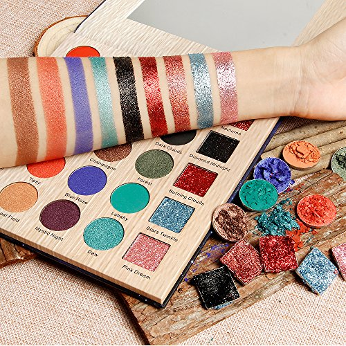 DE'LANCI Nocturne Eyeshadows Palette with Mirror - Matte + Shimmer +Glitter - Highly Pigmented and Long-Lasting Eye Shadows Powder Makeup Set, 25 Color,1.31oz.