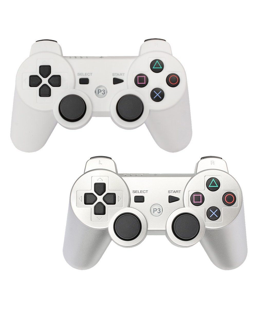 PS3 Controller 2 Pack Wireless Bluetooth Six Axis Controllers Gamepad for PlayStation 3 Dualshock 3 (1White + 1Silver)