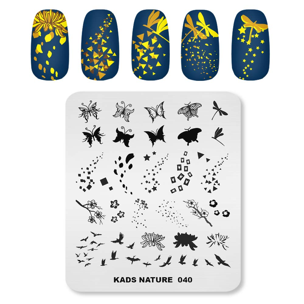 KADS Nail Art Template Nature Nail Stamping Plate Butterfly Dragonfly Fallen Leaves Image Nail Art DIY Manicure Tool (NA040)