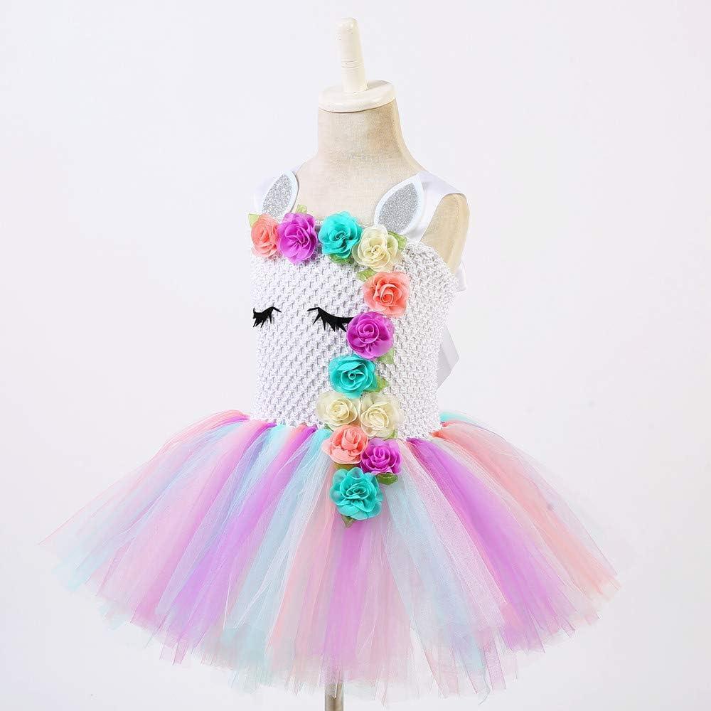 Ruiuzi Costume da Principessa in Tulle con Bambine e Unicorno per la Festa di Compleanno