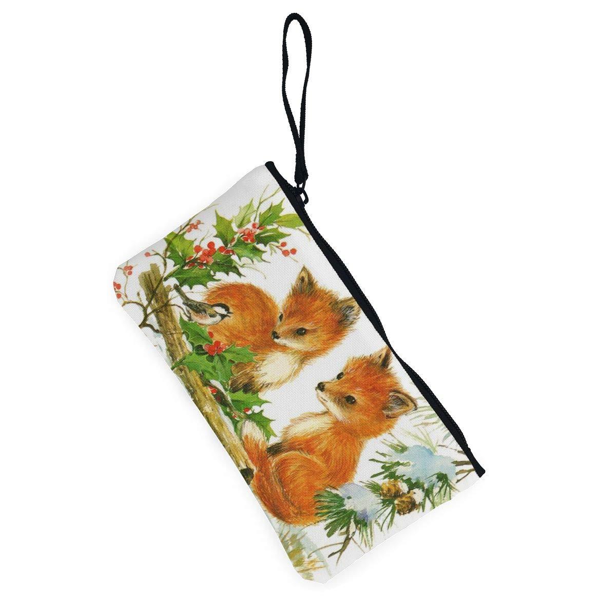 YUANSHAN Vintage Christmas Fox Unisex Canvas Coin Purse Change Cash Bag Zipper Small Purse Wallets with Handle