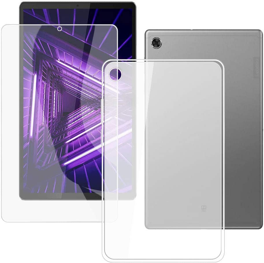 HHUAN Tablet Case + Screen Protector for Lenovo Tab M10 FHD Plus TB-X606F / TB-X606X 10.3 inches,Semi-Transparent Flexible Silicone Gel TPU Protective Shell Bumper Case Cover - Semi-Transparent