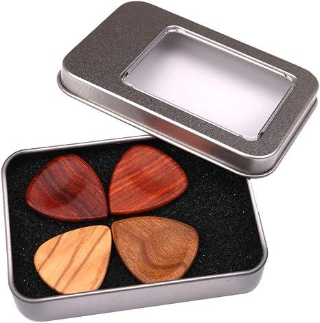 1x Durable Holz Gitarre Bass Pick Plektren Box mit 2 Stück Plektren