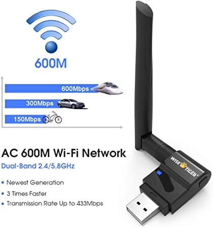 Tangxi 600M Dual-Band WiFi Network Adapter 600M Dual-Band 2.4Ghz//5.8Ghz Wireless WiFi USB Network Card Bluetooth 4.0 USB Receiver Set Support AP Function