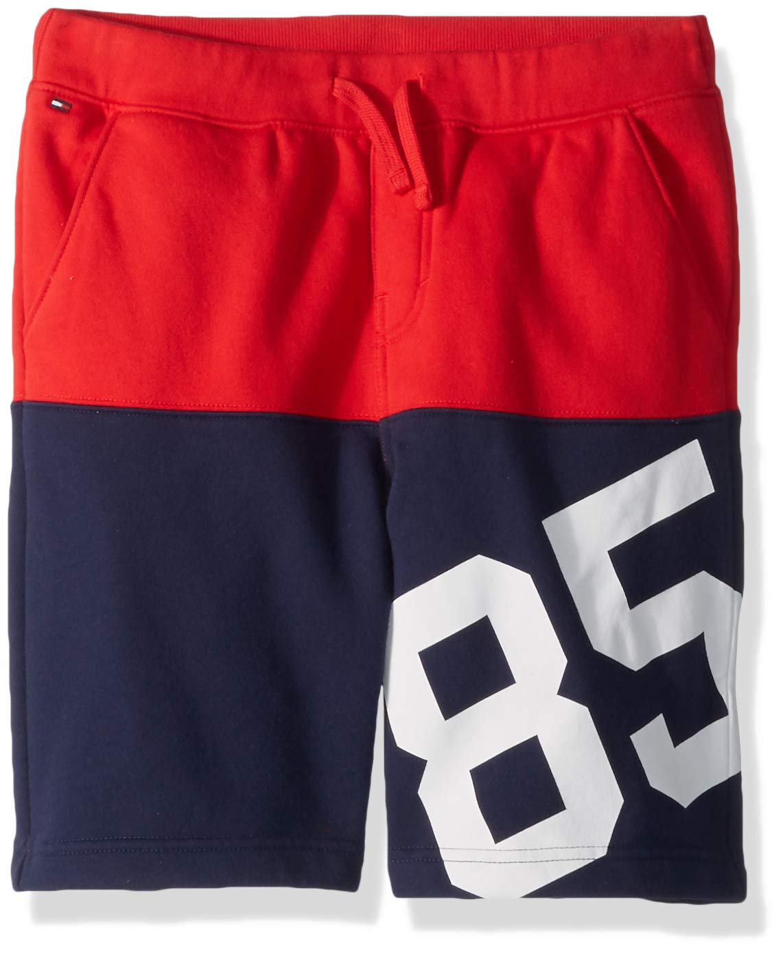 Tommy Hilfiger Boys' Adaptive Shorts with Elastic and Drawstring Waist, racing red LG