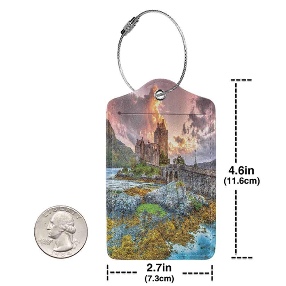 Multi-patterned luggage tag Scenery Decor Dreamy Ancient Times Middle Age Inspired Princess Castle Near Lake Stones Moss Double-sided printing Multi W2.7 x L4.6