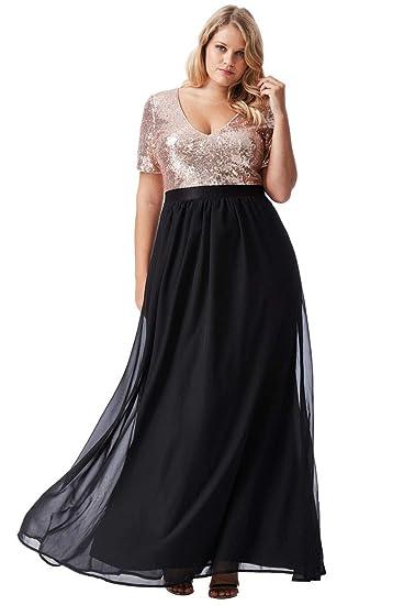 3afbf5f484f15 Goddiva Black-Gold Short Sleeve Chiffon Sequin Maxi Evening Dress Formal  Ball Gown