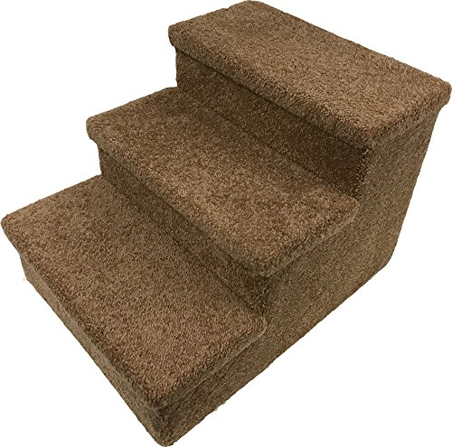 Penn-Plax 3 Step Carpeted Pet Stairs for Both Cats & Dogs, 12.75
