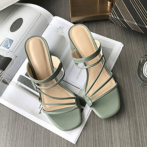 misura Nero EU36 aperta sandali Semplici dimensioni CN35 colori Colore 3 UK3 estivi a donna 5 con chiusura CAICOLOR opzionali da opzionale grossi Verde punta THv6cq