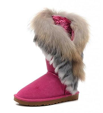 0a1c9f3a425 Amazon.com | Women's Indian Style Fox Fur Tall Boots - W5, Peach ...