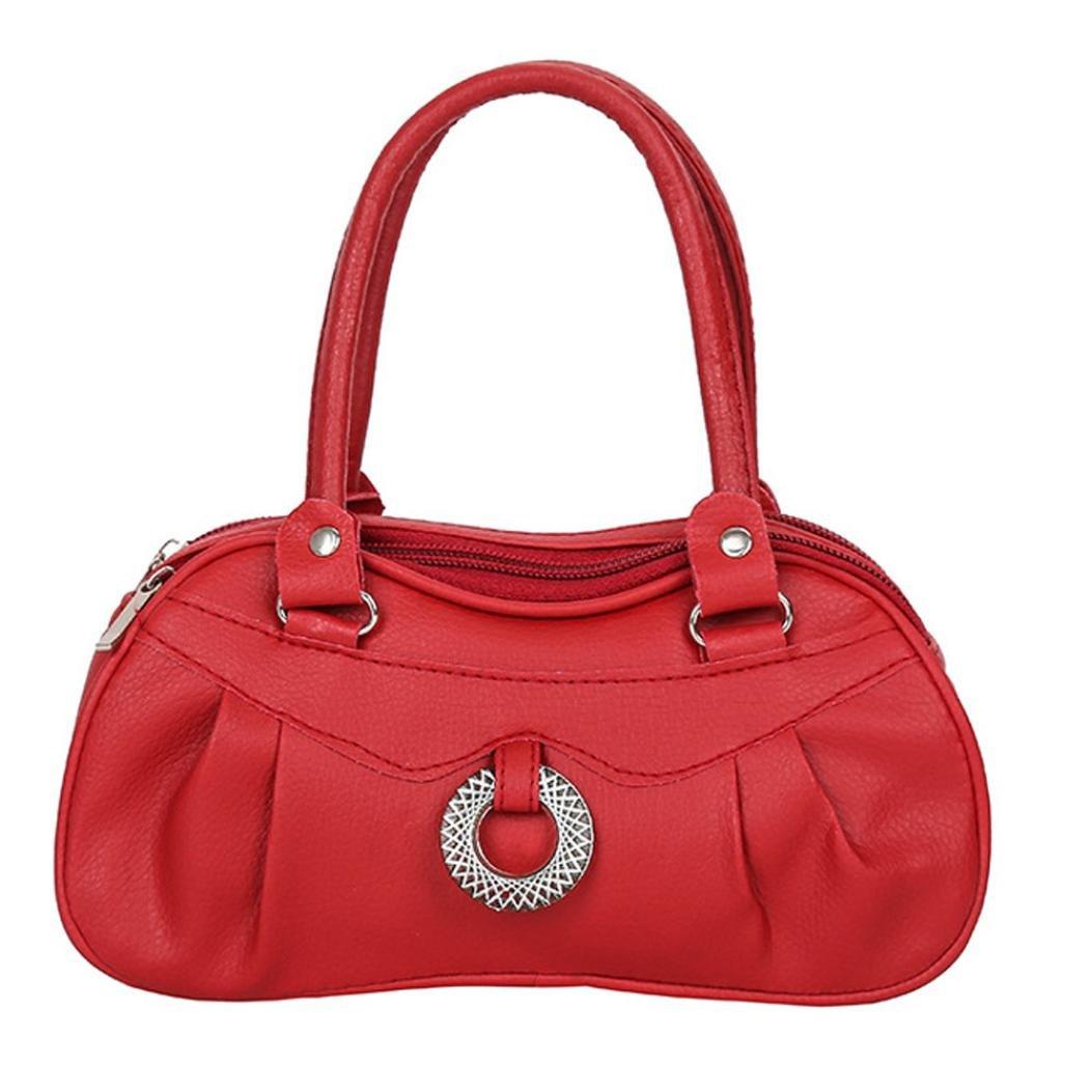 Women Fashion Pure Color Handbag Shoulder Bag Tote Ladies Purse (Red)