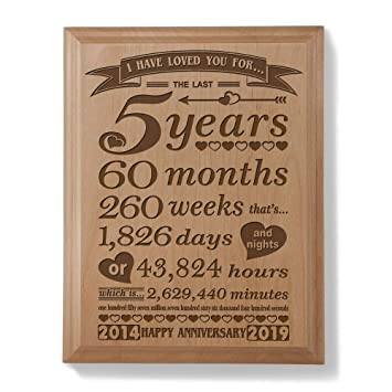 Kate Posh 5th Anniversary Engraved Natural Wood Plaque 5 Years 60 Months 2014 Marriage Year And 2019 5th Anniversary Year 5th Wedding For